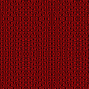 Vertical Melted Stripes black and red