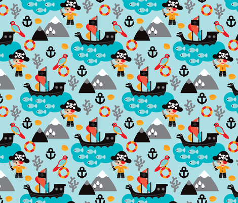 Pirates and parrot ocean kids print fabric for Kids pirate fabric