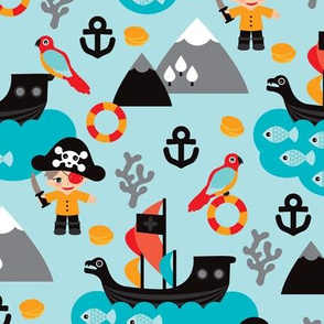 Pirates and parrot ocean kids print