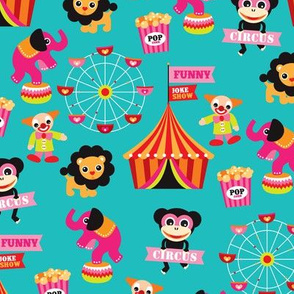 Colorful kids circus animals fun fair illustration pattern