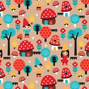 Colorful kids gnome village fall illustration illustration pattern