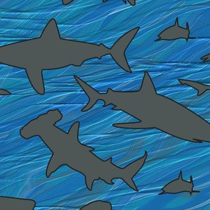 Shark Frenzy - 03 - Med Gray Sharks on Blue Background, Medium Scale