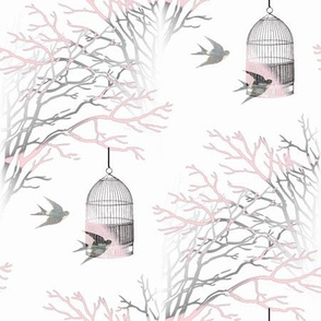 Bare Branches Birdcage Pink Gray
