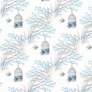 Bare Branches Birdcage Blue Gray-ch