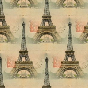 Eiffel Tower Vintage Postcard & Stamp