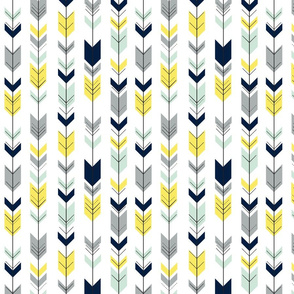 Fletching Arrows // navy/mint/grey/yellow (small scale) on white