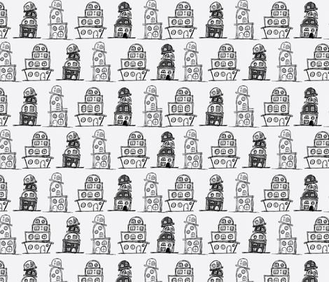 Quirky Neighborhood In Black and White fabric by asouthernladysdesigns on Spoonflower - custom fabric