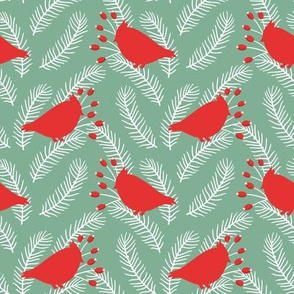 Winter design with birds and berries