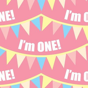 I'm ONE! Carousel Bunting Pink