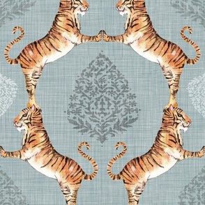 Big Cat Damask (in Silver)