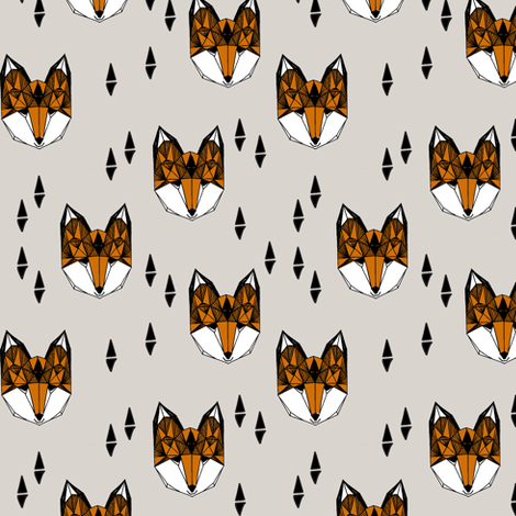 Geometric Fox Head - Light Grey/Rust (Small Version) by Andrea Lauren