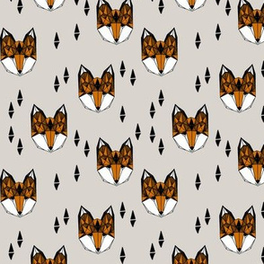 fox // grey and rust geometric fox head kid baby boy nursery kids