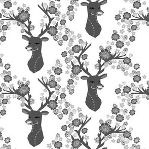 Deer Head with Flowers - Greyscale by Andrea Lauren