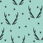 Antlers - Pale Turquoise by Andrea Lauren