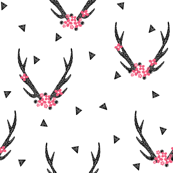 Antlers with Flowers - White and Black by Andrea Lauren