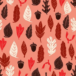 Autumn Leaves - Pink Background by Andrea Lauren