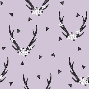 Antlers with Flowers - Lavender by Andrea Lauren