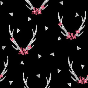 Antlers with Flowers - Black and White by Andrea Lauren