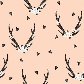 Antlers with flowers - Blush by Andrea Lauren
