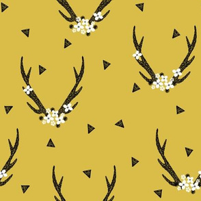 Antlers with Flowers - Mustard by Andrea Lauren