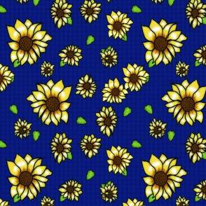 Sunflower on Dark Blue Gingham