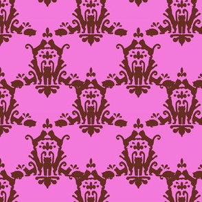 Cat Damask Pink and Brown