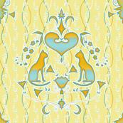 Cat Damask - yellow