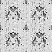 cat damask black on gray