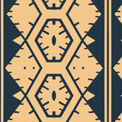 Vertical Tribal Design in Dark Blue