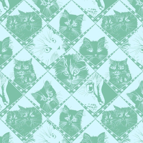 Damask_Cats_7ec1a9_Dark_Aqua_and__d5f7ff_background_
