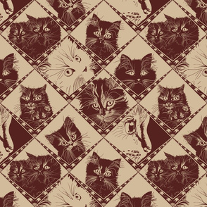 Damask_Cats_55221fDark_Chocolate_and__d2bb9a_background_