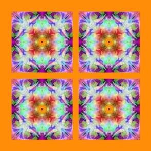 Abstract Flowers  orange-pillow