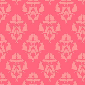 Damask Cat Silhouette Coral