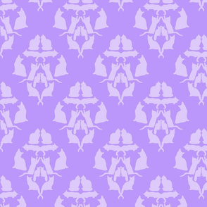Damask Cat Silhouette Lavender
