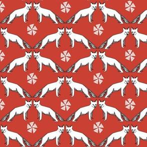 arctic fox // red andrea lauren fabric cute winter animals nursery baby fabric