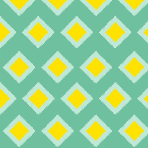 mint and yellow ikat