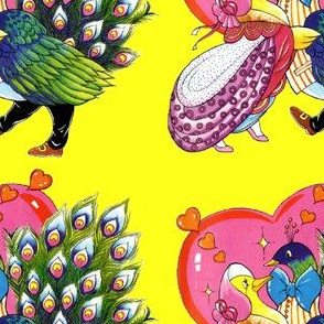 vintage retro kitsch birds peacocks peahens goose geese ducks valentine inter species romance love hearts whimsical Anthropomorphic