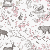 Spring Toile (Grey +  Pink)