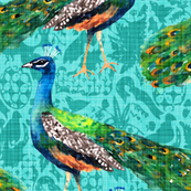 Rajah's Peacocks (in Aquamarine)