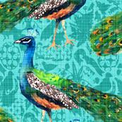 Rajah's Peacocks (in Aquamarine)