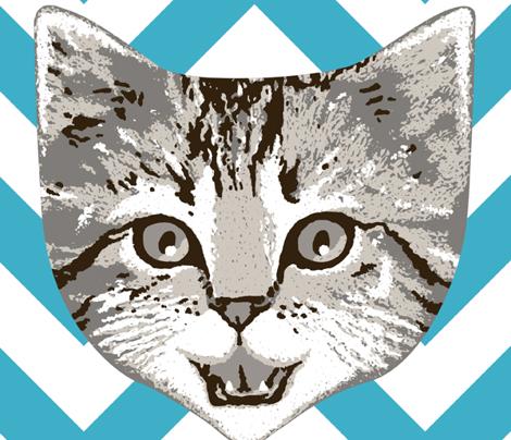 le chaton - turquoise chevron