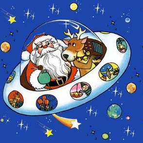vintage retro kitsch merry Christmas Santa Claus Reindeer spaceship ufo rockets presents universe galaxy shooting stars planets toys teddy bears space