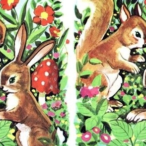 vintage retro kitsch whimsical chipmunks squirrels rabbits bunny bunnies gardens flowers mushrooms leaves animals plants garden wildlife