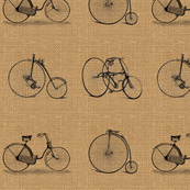 Burlap Vintage Bicycles Illustration