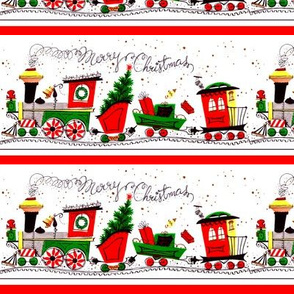 vintage retro merry Christmas trains railway tracks mistletoe trees coniferous cones snow winter presents gifts festive holiday seamless border