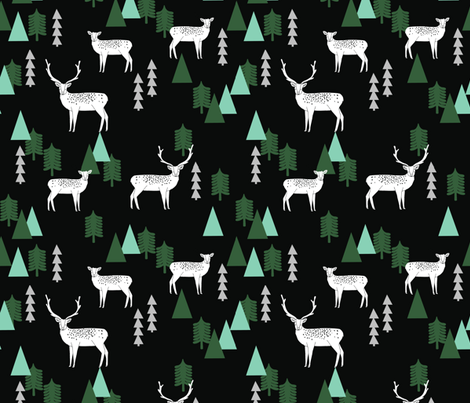 Reindeer Geo Forest - Black by Andrea Lauren