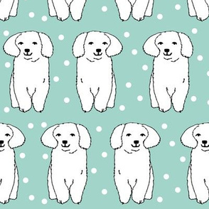 Cute White Puppy - Pale Turquoise by Andrea Lauren