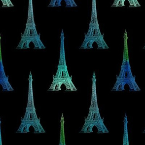 Paris Eiffel Tower Blue Green Black