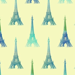Paris Eiffel Tower Blue Aqua Yellow