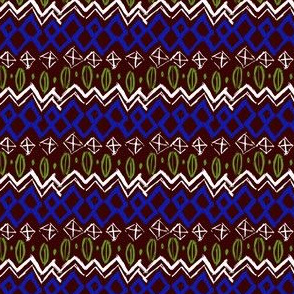 Deep Red, Blue, Lime, and White Funky Tribal